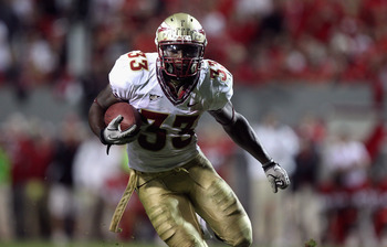 RALEIGH, NC - OCTOBER 28:  Ty Jones #33 of the Florida State Seminoles against the North Carolina State Wolfpack during their game at Carter-Finley Stadium on October 28, 2010 in Raleigh, North Carolina.  (Photo by Streeter Lecka/Getty Images)