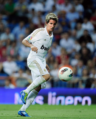 MADRID, SPAIN - SEPTEMBER 10:  Fabio Coentrao of Real Madrid in action during the La Liga match bewteen Real Madrid and Getafe at Estadio Santiago Bernabeu on September 10, 2011 in Madrid, Spain.  (Photo by Denis Doyle/Getty Images)