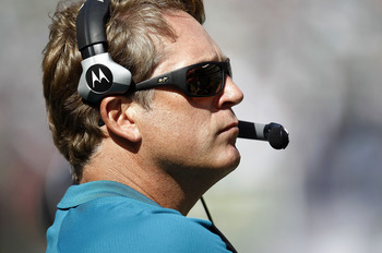 EAST RUTHERFORD, NJ - SEPTEMBER 18: Jack Del Rio, head coach of the Jacksonville Jaguars watches during a game against the New York Jets at MetLife Stadium on September 18, 2011 in East Rutherford, New Jersey.  (Photo by Jeff Zelevansky/Getty Images)