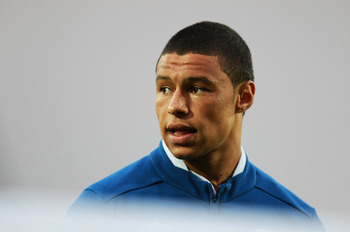 LONDON, ENGLAND - SEPTEMBER 01:  Alex Oxlade-Chamberlain of England looks on during the national anthem prior to the start of the UEFA European Under-21 Championship Qualifier Group 8 match between England and Azerbaijan at Vicarage Road on September 1, 2