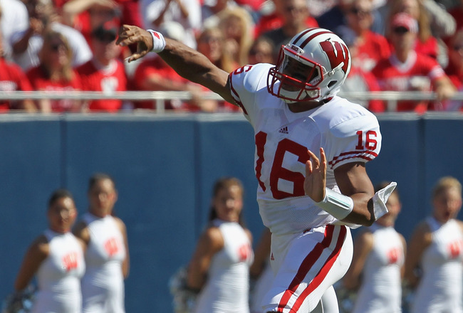 CHICAGO, IL - SEPTEMBER 17:  Russell Wilson #16 of the Wisconsin Badgers throws a pass against the Northern Illinois Huskies at Soldier Field on September 17, 2011 in Chicago, Illinois. Wisconsin defeated Northern Illinois 49-7.  (Photo by Jonathan Daniel