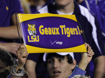 STARKVILLE, MS - SEPTEMBER 15:  A LSU fan holds up a sign to support the Tigers in a game against the Mississippi State Bulldogs on September 15, 2011 at Davis Wade Stadium in Starkville, Mississippi. (Photo by Butch Dill/Getty Images)