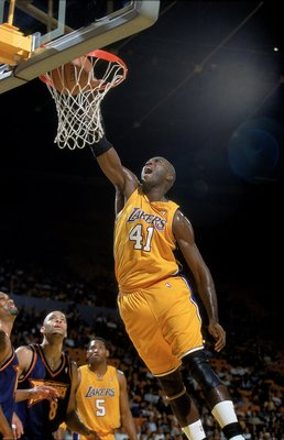 21 Oct 1999: Glen Rice #41 of the Los Angeles Lakers makes a layup during a Pre-Season game against the Golden State Warriors at the Great Western Forum in Inglewood, California. The Lakers defeated the Warriors 93-89 . Mandatory Credit: Donald Miralle  /