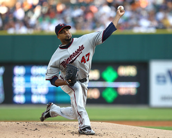 DETROIT, MI - AUGUST 15:  Starting pitcher, Francisco Liriano #47 of the Minnesota Twins throws the baseball against the Detroit Tigers during a MLB game at Comerica Park on August 15, 2011 in Detroit, Michigan.  (Photo by Dave Reginek/Getty Images)