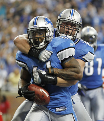 Detroit Lions running back Jahvid Best celebrates a touchdown with guard Stephen Peterman.