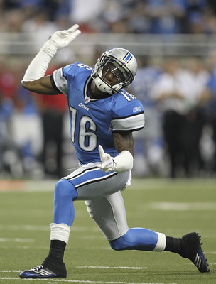 Detroit Lions rookie wide receiver Titus Young celebrates a first-down catch.