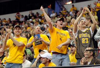 LAS VEGAS, NV - MARCH 09:  Wyoming Cowboys fans react during the first round game of the Conoco Mountain West Conference Basketball tournament against the Texas Christian University Horned Frogs at the Thomas & Mack Center March 9, 2011 in Las Vegas, Neva