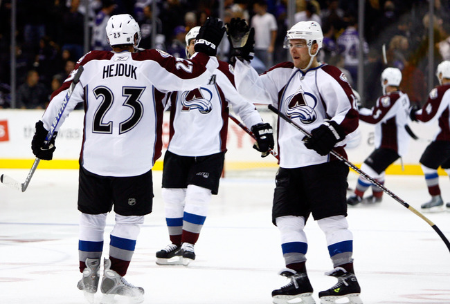 LOS ANGELES, CA - NOVEMBER 22:  Milan Hejduk #23 of the Colorado Avalanche is congratulated by teammate Paul Stastny #26 after scoring the game winning goal during the shootout against the Los Angeles Kings at Staples Center on November 22, 2008 in Los An