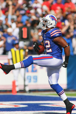 ORCHARD PARK, NY - SEPTEMBER 18:  Fred Jackson #22 of the Buffalo Bills scores Buffalo's third touchdown against the Oakland Raiders at Ralph Wilson Stadium on September 18, 2011 in Orchard Park, New York. Buffalo won 38-35.  (Photo by Rick Stewart/Getty