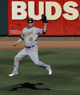 ARLINGTON, TX - SEPTEMBER 10: Josh Willingham #16 of the Oakland Athletics  during a baseball game at Rangers Ballpark in Arlington on September 10, 2011 in Arlington, Texas. Oakland won 8-7. (Photo by Brandon Wade/Getty Images)