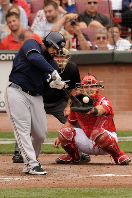 CINCINNATI, OH - SEPTEMBER 18:  Prince Fielder #28 of the Milwaukee Brewers bats against the Cincinnati Reds at Great American Ball Park on September 18, 2011 in Cincinnati, Ohio. Fielder had one of the Brewers three home runs in an 8-1 victory.  (Photo b
