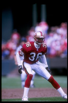 14 Sep 1997: Defensive back Merton Hanks of the San Francisco 49ers looks on during a game against the New Orleans Saints at 3Com Park in San Francisco, California. The 49ers won the game, 33-7.