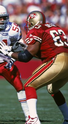 1 Oct 2000:  Simeon Rice #97 of the Arizona Cardinals goes to block Derrick Deese #63 of the San Francisco 49ers during the game at the 3 Com Park in San Francisco, California. The 49ers defeated the Cardinals 27-20.Mandatory Credit: Tom Hauck  /Allsport