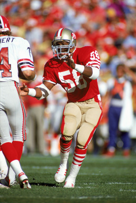 SAN FRANCISCO - DECEMBER 4:  Linebacker Keena Turner #58 of the San Francisco 49ers rushes in on the Atlanta Falcons quarterback at Candlestick Park on December 4, 1988 in San Francisco, California.  The 49ers dominated the Falcons 20-0.  (Photo by Getty