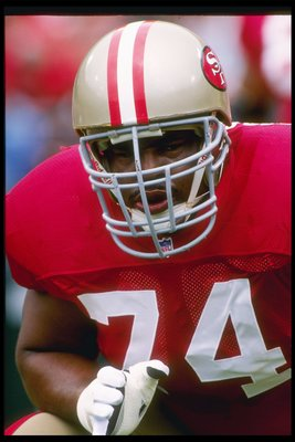 10 Sep 1995:  Offensive lineman Steve Wallace of the San Francisco 49ers looks on during a game against the Atlanta Falcons at 3Com Park in San Francisco, California.  The 49ers won the game, 41-10. Mandatory Credit: Otto Greule Jr.  /Allsport