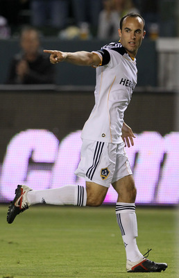 CARSON, CA - SEPTEMBER 09:  Landon Donovan #10 of the Los Angeles Galaxy celebrates after scoring a goal in the first half against the Colorado Rapids at The Home Depot Center on September 9, 2011 in Carson, California.  (Photo by Stephen Dunn/Getty Image