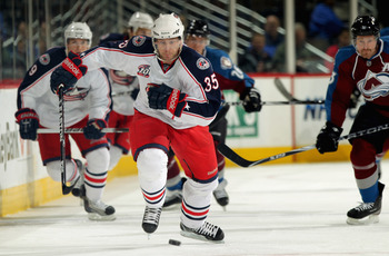 DENVER, CO - MARCH 22:  Jan Hejda #35 of the Columbus Blue Jackets pursues the puck against the Colorado Avalanche at the Pepsi Center on March 22, 2011 in Denver, Colorado.  (Photo by Doug Pensinger/Getty Images)