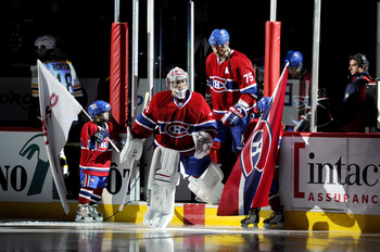 MONTREAL, CANADA - APRIL 26:  Carey Price #31 of the Montreal Canadiens steps out onto the ice during pre-game introductions before Game Six of the Eastern Conference Quarterfinals against the Boston Bruins during the 2011 NHL Stanley Cup Playoffs at the 