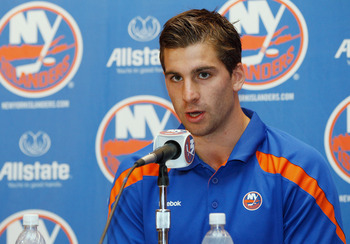 UNIONDALE, NY - SEPTEMBER 15:  John Tavares of the New York Islanders speaks to the media during a press conference to announce he has signed a six-year contract extension with the New York Islanders on September 15, 2011 at the Nassau Coliseum in Unionda