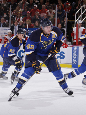 DETROIT, MI - MARCH 30:  David Backes #42 of the St. Louis Blues skates against the Detroit Red Wings at Joe Louis Arena on March 30, 2011 in Detroit, Michigan.  (Photo by Gregory Shamus/Getty Images)