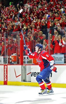 WASHINGTON, DC - APRIL 23:  Alex Ovechkin #8 of the Washington Capitals celebrates being named the second star of the game against the New York Rangers in Game Five of the Eastern Conference Quarterfinals during the 2011 NHL Stanley Cup Playoffs at the Ve