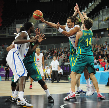 LONDON, ENGLAND - AUGUST 17:  Noah Joakim of France passes the ball during the London Prepares Series match between France and Australia at the Basketball Arena on August 17, 2011 in London, England.  (Photo by Shaun Botterill/Getty Images)