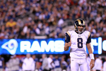 EAST RUTHERFORD, NJ - SEPTEMBER 19:  Sam Bradford #8 of the St. Louis Rams looks on in the second quarter against the New York Giants at MetLife Stadium on September 19, 2011 in East Rutherford, New Jersey.  (Photo by Nick Laham/Getty Images)