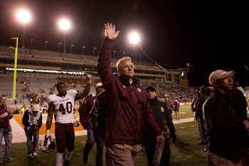 AUSTIN, TX - NOVEMBER 25:  Mike Sherman, head coach of Texas A&amp;M, waves to fans following Texas A&amp;M's 24-17 win over the University of Texas at Darrell K. Royal-Texas Memorial Stadium on November 25, 2010 in Austin, Texas. (Photo by Darren Carroll/Getty I