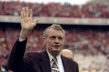31 Oct 1998:  Former head coach Tom Osborne of the Nebraska Cornhuskers waves to the crowd during the game against the Texas Longhorns at the Memorial Stadium in Lincoln, Nebraska. The Longhorns defeated the Cornhuskers 20-16. Mandatory Credit: Brian Bahr