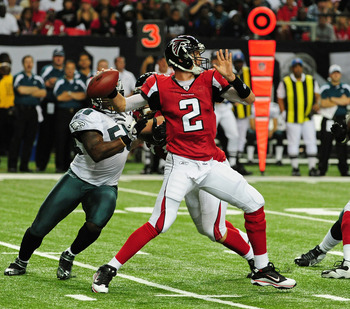 ATLANTA - SEPTEMBER 18: Matt Ryan #2 of the Atlanta Falcons passes against the Philadelphia Eagles at the Georgia Dome on September 18, 2011 in Atlanta, Georgia. (Photo by Scott Cunningham/Getty Images)
