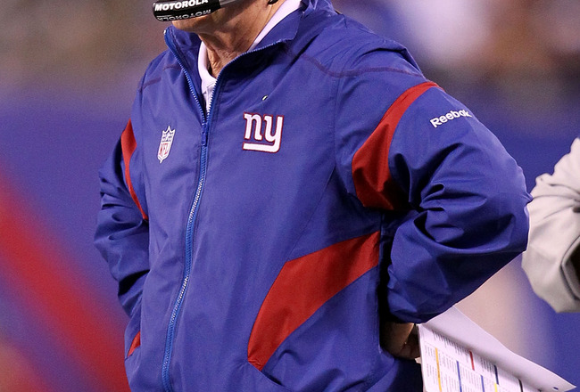 EAST RUTHERFORD, NJ - SEPTEMBER 19:  Head coach Tom Coughlin of the New York Giants looks on against the St. Louis Rams at MetLife Stadium on September 19, 2011 in East Rutherford, New Jersey.  (Photo by Al Bello/Getty Images)