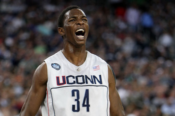 DETROIT - APRIL 04:  Hasheem Thabeet #34 of the Connecticut Huskies reacts after he scored a basket in the first half against the Michigan State Spartans during the National Semifinal game of the NCAA Division I Men's Basketball Championship at Ford Field