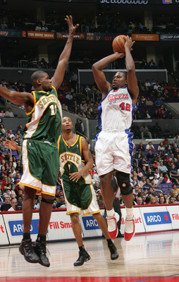 LOS ANGELES - NOVEMBER 3:  Elton Brand #42 of the Los Angeles Clippers attempts to shoot over Jerome James #13 of the Seattle Sonics during the Clippers home opener at Staples Center on November 3, 2004 in Los Angeles, California.  The Clippers won 114-84