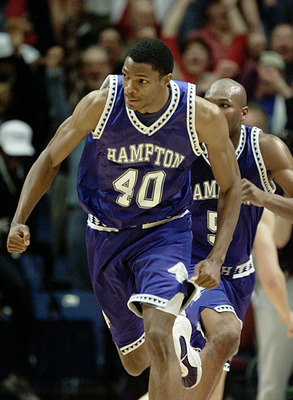 15 Mar 2001:  Tarvis Williams #40 of the Hampton Pirates pumps his fist after he hit the winning shot against the Iowa State Cyclones during the first round of the NCAA Tournament at the Boise State University Pavilion in Boise, Idaho. The Pirates upset t