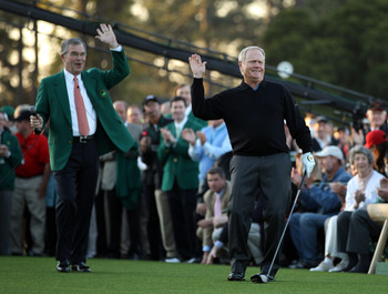 AUGUSTA, GA - APRIL 07:   Jack Nicklaus of the USA is watched by William Porter Payne, the chairman of Augusta National Golf Club, after starting the first round of the 2011 Masters Tournament at Augusta National Golf Club on April 7, 2011 in Augusta, Geo
