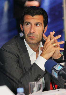 ST. PETERSBURG, RUSSIA - SEPTEMBER 16: Football player Luis Figo during a press conference during the UEFA Champions League Trophy Tour 2011 on September 16, 2011 in St. Petrsburg, Russia.  (Photo by Oleg Nikishin/Getty Images)