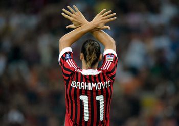 MILAN, ITALY - SEPTEMBER 09:  Zlatan Ibrahimovic of AC Milan in action during the Serie A match between AC Milan and SS Lazio at Stadio Giuseppe Meazza on September 9, 2011 in Milan, Italy.  (Photo by Claudio Villa/Getty Images)