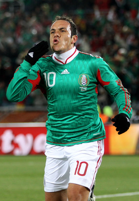 POLOKWANE, SOUTH AFRICA - JUNE 17:  Cuauhtemoc Blanco of Mexico celebrates after scoring a penalty during the 2010 FIFA World Cup South Africa Group A match between France and Mexico at the Peter Mokaba Stadium on June 17, 2010 in Polokwane, South Africa.