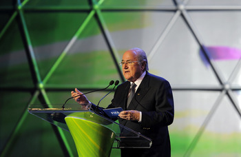 RIO DE JANEIRO, BRAZIL - JULY 30:  FIFA president Joseph S. Blatter addresses the audience during the Preliminary Draw of the 2014 FIFA World Cup at Marina Da Gloria on July 30, 2011 in Rio de Janeiro, Brazil.  (Photo by Michael Regan/Getty Images)