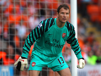 BLACKPOOL, ENGLAND - APRIL 10:  Jens Lehman of Arsenal during the Barclays Premier League match between Blackpool and Arsenal at Bloomfield Road on April 10, 2011 in Blackpool, England.  (Photo by Alex Livesey/Getty Images)