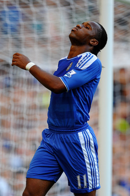 LONDON, ENGLAND - AUGUST 20:  Didier Drogba of Chelsea reacts after a missed chance on goal during the Barclays Premier League match between Chelsea and West Bromwich Albion at Stamford Bridge on August 20, 2011 in London, England.  (Photo by Laurence Gri