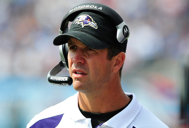 NASHVILLE, TN - SEPTEMBER 18:  Coach John Harbaugh of the Baltimore Ravens watches his team against the Tennessee Titans at LP Field on September 18, 2011 in Nashville, Tennessee. Tennessee won 26-13.  (Photo by Grant Halverson/Getty Images)