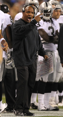 SEATTLE, WA - SEPTEMBER 02:  Head coach Hue Jackson of the Oakland Raiders gestures during the game against the Seattle Seahawks at CenturyLink Field on September 2, 2011 in Seattle, Washington. (Photo by Otto Greule Jr/Getty Images)