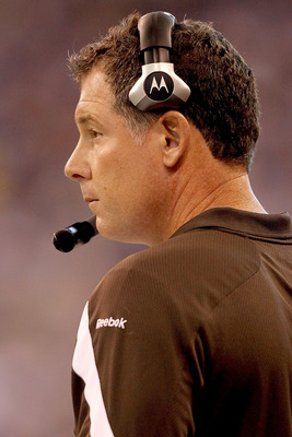 INDIANAPOLIS, IN - SEPTEMBER 18:  Head coach Pat Shurmur of the Cleveland Browns on the sideline against the Indianapolis Colts at Lucas Oil Stadium on September 18, 2011 in Indianapolis, Indiana.  (Photo by Matthew Stockman/Getty Images)