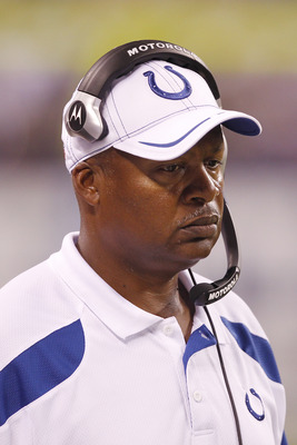 INDIANAPOLIS, IN - AUGUST 26: Indianapolis Colts head coach Jim Caldwell looks on during an NFL preseason game against the Green Bay Packers at Lucas Oil Stadium on August 26, 2011 in Indianapolis, Indiana. The Packers won 24-21. (Photo by Joe Robbins/Get