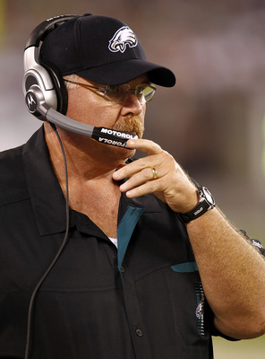 EAST RUTHERFORD, NJ - SEPTEMBER 01:  Head coach Andy Reid of the Philadelphia Eagles stands on the sidelines during a pre-season game against the New York Jets at MetLife Stadium on September 1, 2011 in East Rutherford, New Jersey.  (Photo by Jeff Zelevan