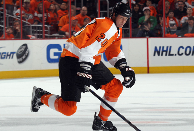 PHILADELPHIA, PA - APRIL 30: Chris Pronger #20 of the Philadelphia Flyers skates against the Boston Bruins in Game One of the Eastern Conference Semifinals during the 2011 NHL Stanley Cup Playoffs at the Wells Fargo Center on April 30, 2011 in Philadelphi
