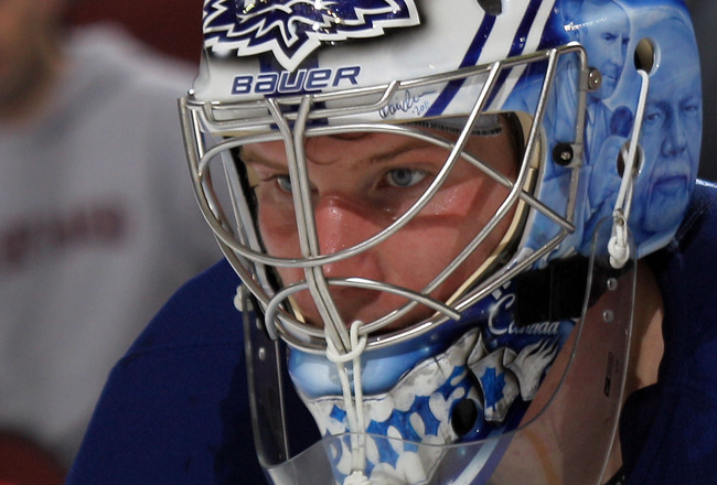 NEWARK, NJ - APRIL 06:  James Reimer #34 of the Toronto Maple Leafs tends net against the New Jersey Devils at the Prudential Center on April 6, 2011 in Newark, New Jersey.  (Photo by Bruce Bennett/Getty Images)