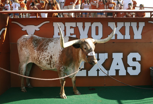 AUSTIN, TX - SEPTEMBER 10:  The Texas Longhorns mascot Bevo XIV attends the NCAA game against the BYU Cougars on September 10, 2011 at Darrell K. Royal-Texas Memorial Stadium in Austin, Texas.  Texas defeated BYU 17-16. (Photo by Erich Schlegel/Getty Imag