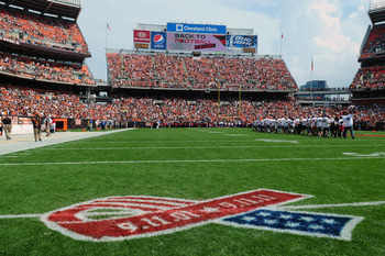 CLEVELAND, OH - SEPTEMBER 11: A 9/11 tribute logo on the field of  Cleveland Browns Stadium prior to the game between the Cleveland Browns and the Cincinnati Bengals during a season opener on September 11, 2011 in Cleveland, Ohio. (Photo by Jason Miller/G